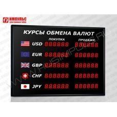 Офисное табло валют 6 разрядов Импульс-302-5x2xZ6