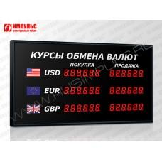 Офисное табло валют 6 разрядов Импульс-302-3x2xZ6