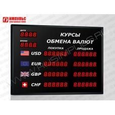 Офисное табло валют 6 разрядов Импульс-302-4x2xZ6-DTx2