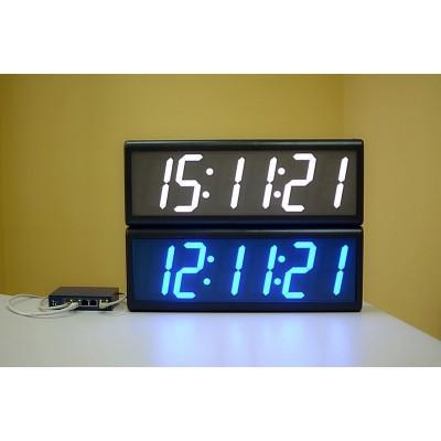Цифровые часы с высотой знака 100 мм PoE-NTP ЦВС.6.100